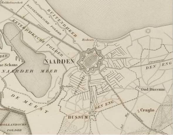 Oude kaart van Naarden en omgeving - Stichting Menno van Coehoorn